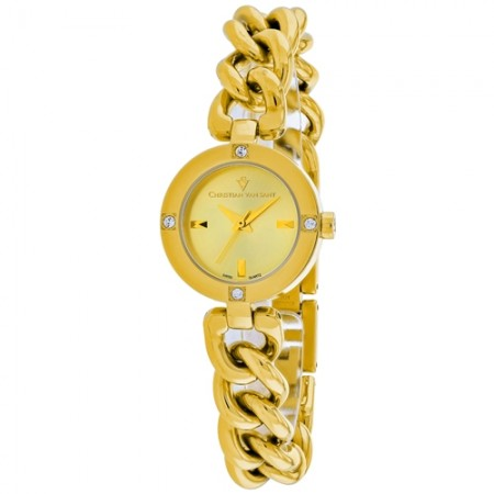 Women's Sultry Gold-Tone Dial Gold-Tone Stainless Steel Band Swiss parts Quartz Watch