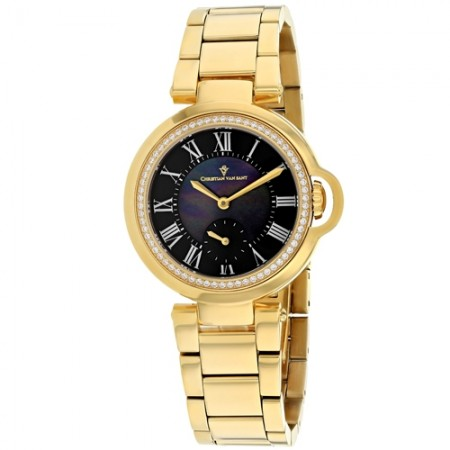 Women's Cybele Black Dial Gold-Tone Stainless Steel Band Quartz Watch
