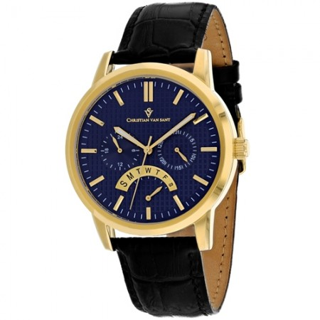 Men's Alden Blue Dial Black Leather Band Quartz Watch