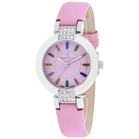 Women's Celine Pink Dial Pink Leather Band Swiss parts Quartz Watch
