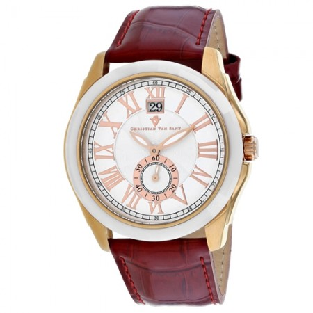 Men's Gravity White Dial Red Stainless Steel Band Quartz Watch