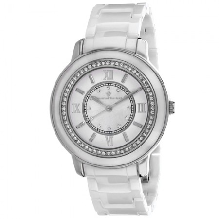 Women's Clay Mother of Pearl Dial White Ceramic Band Quartz Watch