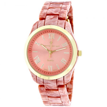 Women's Granite Pink Dial Marble Pink Plastic Band Quartz Watch