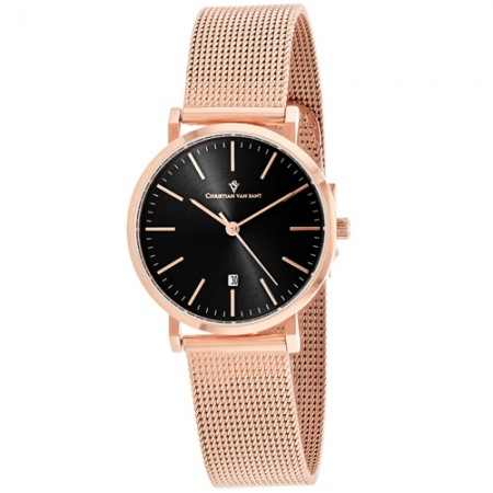 Women's Paradigm Black Dial Rose Gold-Tone Stainless Steel Band Quartz Watch
