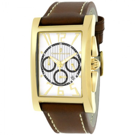 Men's Cannes White Dial Brown Leather Band Quartz Watch