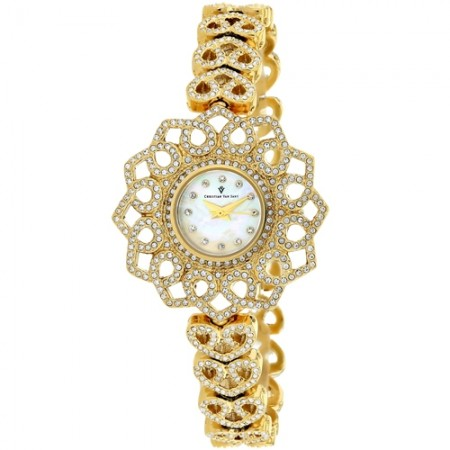Women's Chantilly White Dial Gold-Tone Stainless Steel Case Back Band Quartz Watch