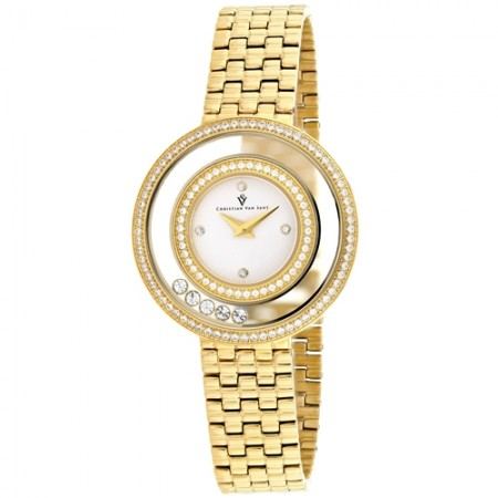 Women's Gracieuse White Dial Gold-Tone Stainless Steel Band Quartz Watch