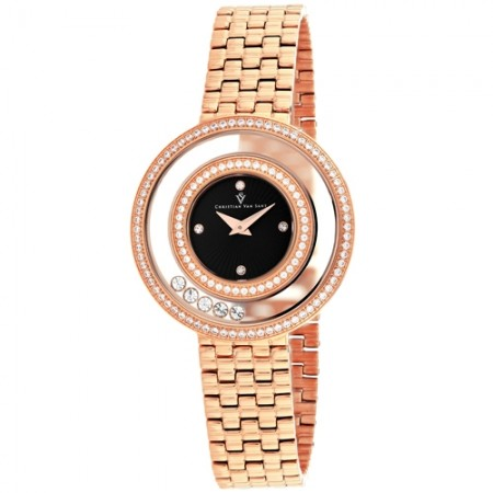 Women's Gracieuse Black Dial Rose Gold-Tone Stainless Steel Band Quartz Watch