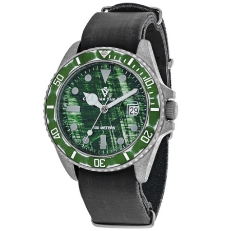 Men's Montego Vintage Green Dial Black Leather Band Quartz Watch