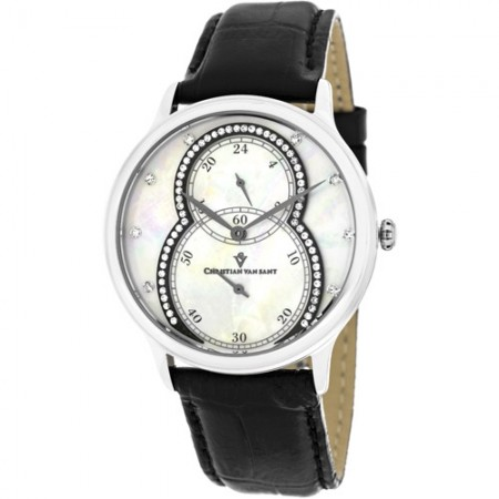 Women's Infinie White Dial Black Leather Band Quartz Watch