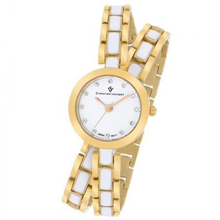 Women's Spiral White Dial White Stainless Steel Band Quartz Watch