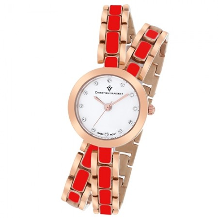 Women's Spiral White Dial Rose Gold-Tone Stainless Steel Band Quartz Watch