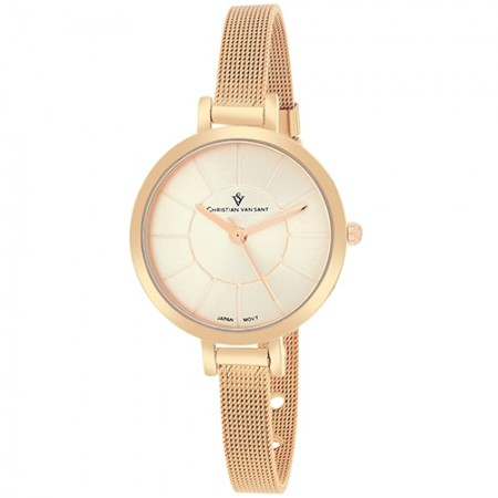 Women's Skinny Rose Gold-Tone Dial Rose Gold-Tone Mesh Band Quartz Watch