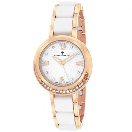 Women's Eternelle White Dial Rose Gold-Tone Stainless Steel Band Quartz Watch