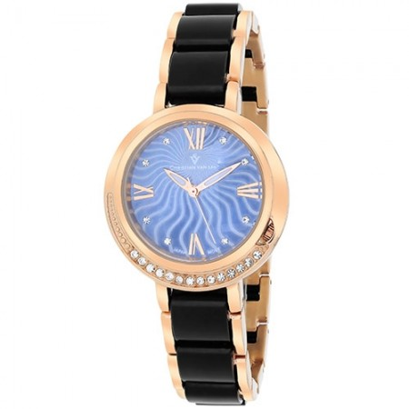 Women's Eternelle Blue Dial Rose Gold-Tone Stainless Steel Band Quartz Watch
