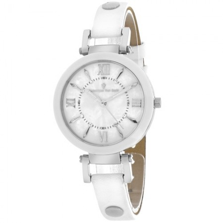 Women's Petite White Dial White Leather Band Swiss Parts Quartz Watch