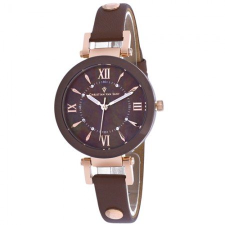 Women's Petite Brown Dial Brown Leather Band Swiss Parts Quartz Watch