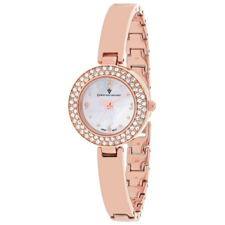 Women's Palisades White Dial Rose Gold-Tone Stainless Steel Band Quartz Watch