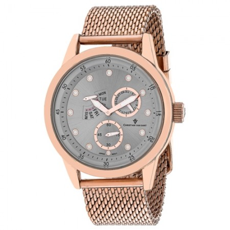 Men's Rio Gun Metal Dial Rose Gold-Tone Stainless Steel Band Quartz Watch