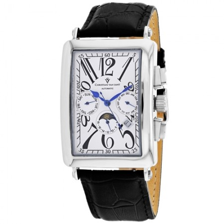 Men's Prodigy White Dial Black Leather Band Automatic Watch