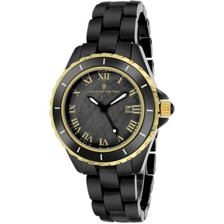 Women's Palace Black Dial Black Ceramic Band Quartz Watch