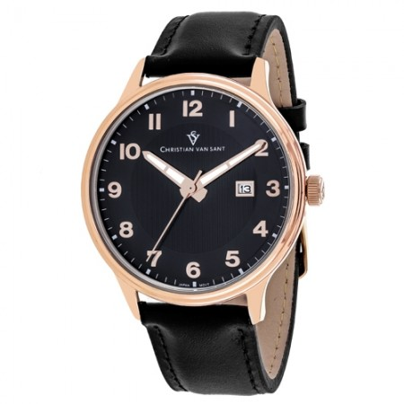 Men's Montero Black Dial Black Leather Band Quartz Watch
