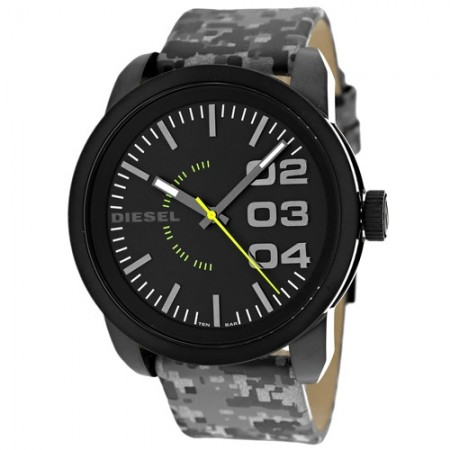 Men's Double Down Black Dial Grey-Camo Leather Band Quartz Watch