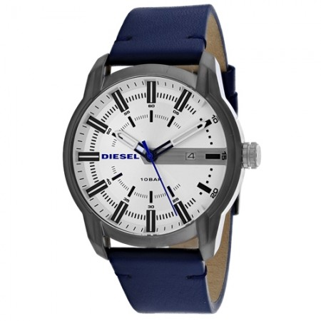 Men's Armbar Gun Metal Dial Blue Leather Band Quartz Watch