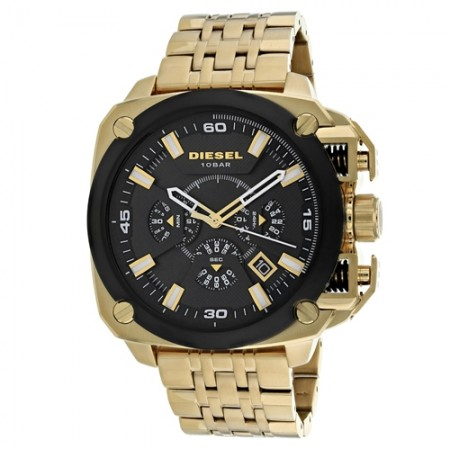 Men's Bamf Black Dial Gold Tone Stainless Steel Band Quartz Watch