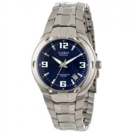 Men's Classic Blue Dial Gun Metal Stainless Steel Band Quartz Watch