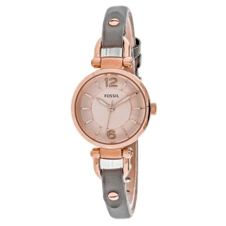 Women's Georgia Rose Gold-Tone Dial Grey Leather Band Quartz Watch