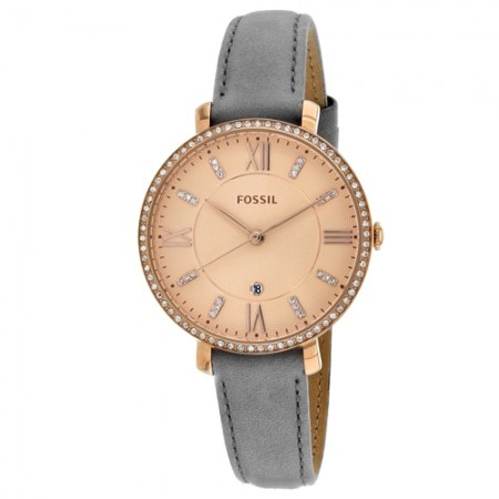 Women's Jacqueline Rose Gold Tone Dial Grey Leather Band Quartz Watch