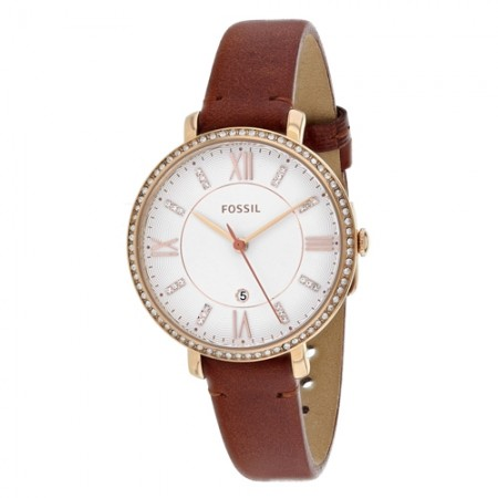 Women's Jacqueline White Dial Brown Leather Band Quartz Watch
