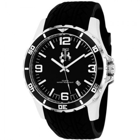 Men's Ultimate Black Dial Black Silicone Band Swiss Parts Quartz Watch