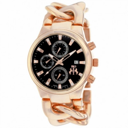 Women's Lev Black Dial Rose Gold-Tone Alloy Band Swiss Parts Quartz Watch