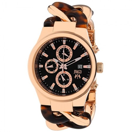 Women's Lev Black Dial Rose Gold-Tone Stainless Steel Band Swiss Parts Quartz Watch