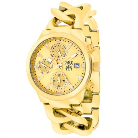Women's Levley Gold-Tone Dial Gold-Tone Stainless Steel Band Swiss Parts Quartz Watch