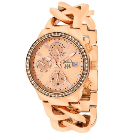 Women's Levley Rose Gold-Tone Dial Rose Gold-Tone Stainless Steel Band Swiss Parts Quartz Watch