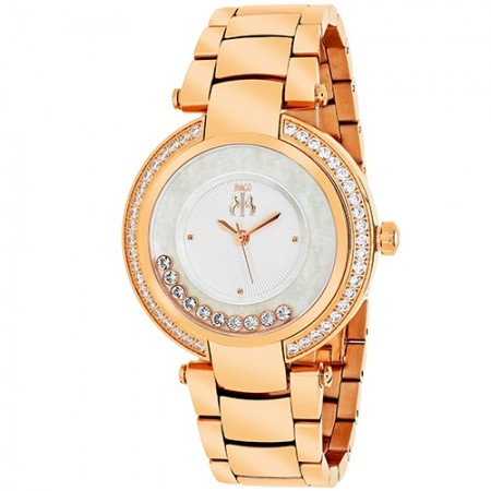 Women's Celebrate Gun Metal Dial Rose Gold-Tone Stainless Steel Band Swiss Parts Quartz Watch