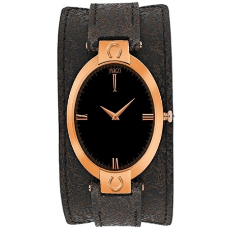 Women's Good Luck Black Dial Dark brown Leather Band Swiss Parts Quartz Watch