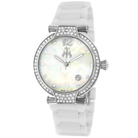 Women's Bijoux White Dial White Ceramic Band Swiss Parts Quartz Watch