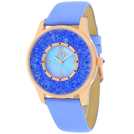 Women's Brillance Blue Dial Lavander Leather Band Swiss Parts Quartz Watch