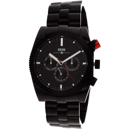 Men's Red Rum Black Dial Black Stainless Steel Band Automatic Watch