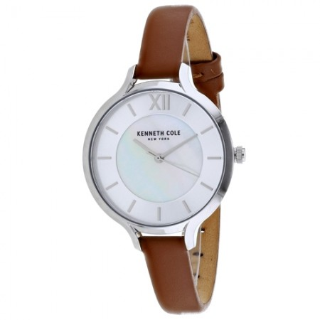 Women's Classic Mother of Pearl Dial Brown Leather Band Quartz Watch
