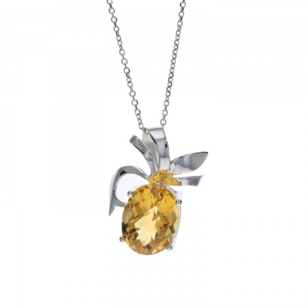 Signature Checkerboard Cut Oval Citrine Pendant in 14k White Gold