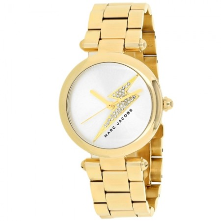 Women's Dotty Gun Metal Dial Gold-Tone Stainless Steel Band Quartz Watch