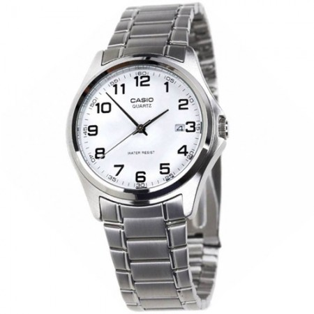 Men's Classic White Dial Gun Metal Stainless Steel Band Quartz Watch