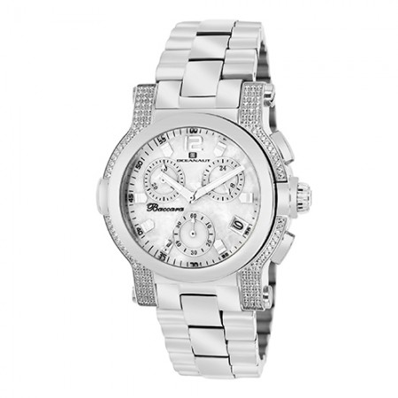 Women's Baccara White Dial Gun Metal Stainless Steel Band Quartz Watch