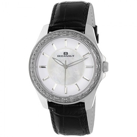 Women's Angel White Dial Black Leather Band Quartz Watch