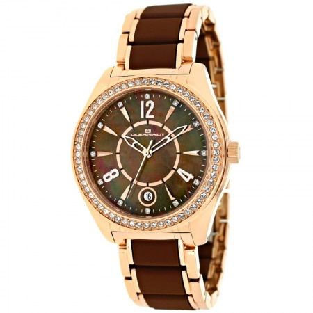 Women's Pearl Brown Dial Rose Gold-Tone Stainless Steel Coated With Rubber Band Quartz Watch